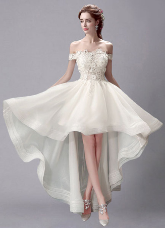 Ivory Wedding Dress High-Low Off-the-Shoulder Lace Wedding Gown