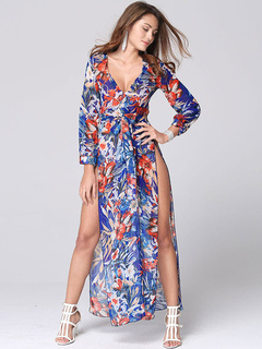 Multicolor Maxi Dress With Print Split Deep-V Chiffon for Women