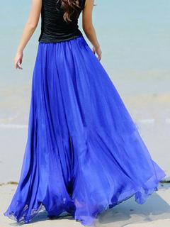 Blue Chiffon Maxi Skirt With Ruffles for Women