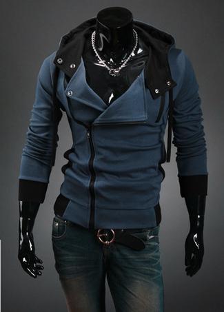 Men Blue Hoodie Sport Jacket Cotton Hoodie Long Sleeve Full Zip Sweatshirt