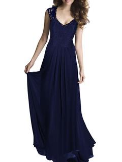Blue Lace Panel Maxi Dress for Women