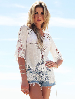 White Cover Up Cut Out Roman Knit Cover Up for Women