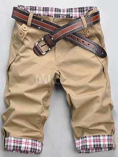 Khaki Print Cotton Shorts for Men