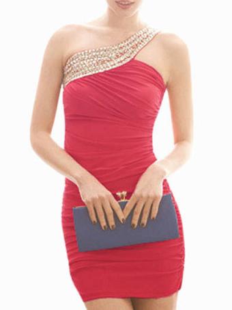 Charming Fuchsia One-Shoulder Sequin Polyester Womens Short Dress