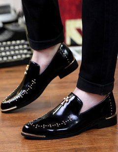 Black Dress Shoes 2018 Men Round Toe Beaded Slip On Casual Business