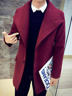 Winter Long Coat For Men Slim Fit Overcoat In Burgundy/Navy