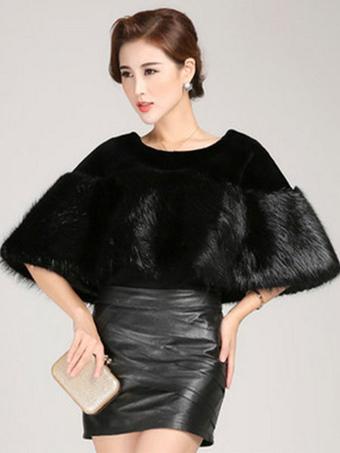 Black Trendy Shawl Faux Fur Acrylic Shawl for Women