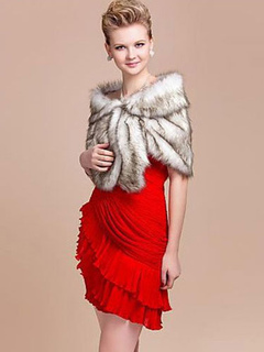 Ecru White Shawl Faux Fur Acrylic Shawl for Women