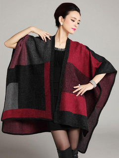 Multicolor Wool Blend Checkered Kintted Oversized Blanket Poncho