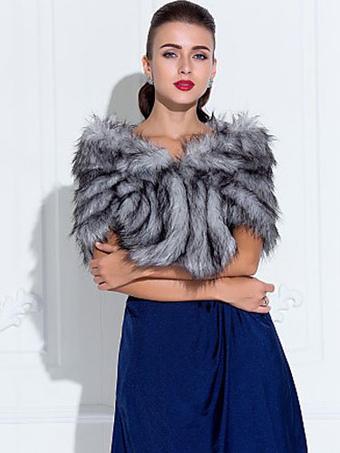 Silver Gray Shawl Faux Fur Acrylic Shawl for Women