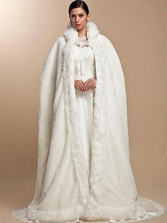 White Faux Fur Coat Hoodie Women Faux Fur Cloak