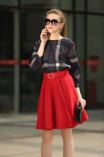 Red Sash Plaid Polyester Suit for Women