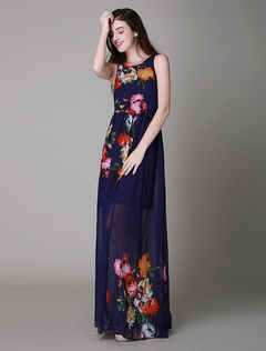 Multicolor Floral Print Chiffon Maxi Dress for Women