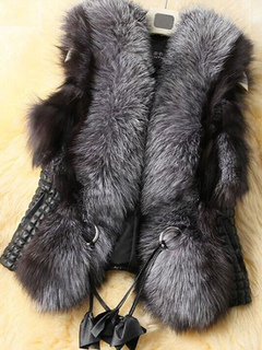 Women Faux Fur Vest Sleeveless Vest Black Winter Coats With Sash
