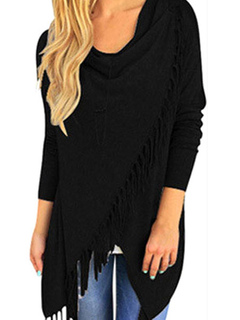 Long Sleeve T-shirt Women's Gray Shawl Colllar Casual Top With Fringe