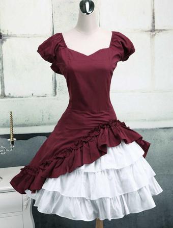 3a88c75029c4 Wine White Lolita OP Dress Short Sleeves withe Ruffles