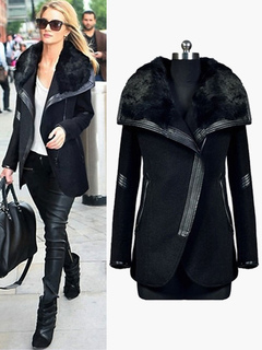 Black Women Coat Faux Fur  Jacket Shearling Coat Zippered Wrap Jacket
