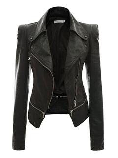 Women Leather Jacket Black Motorcycle Jacket Long Sleeve Zipper Biker Jacket