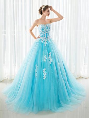 Vestido de noiva azul claro curto