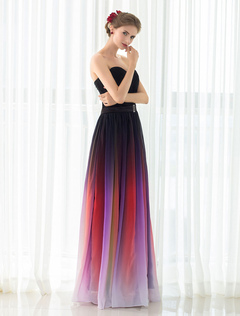 Gladient Prom Dress Chiffon Strapless Sweetheart Evening Dress With Belt Wedding Guest Dress