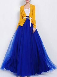 Blue Floor-Length Skirt Tulle Ruffles Skirt