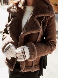 Suede Winter Coat Women's Long Sleeve Turndown Collar Zippered Casual Coat
