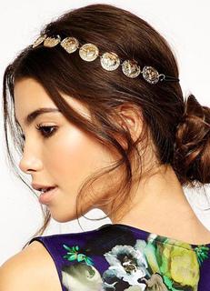 Gold Boho Headband Metallic Embossed Hair Accessory