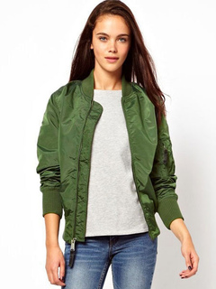 Women's Bomber Jacket Women's Solid Color Oversized Short Windbreaker