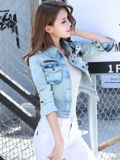Women Denim Jacket Blue Spring Jacket Long Sleeve Button Short Windbreaker Jacket