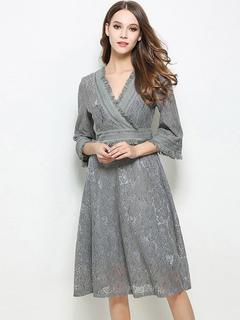 Grey Lace Dress V Neck 3/4 Length Sleeve Pleated Skater Dress