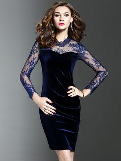 Velvet Bodycon Dress Illusion Sleeve Medium Length Dark Navy Sheath Dress