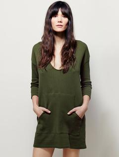 Women's Sweater Dress U Neck Long Sleeve Short Shift Dress For Women With Pocket