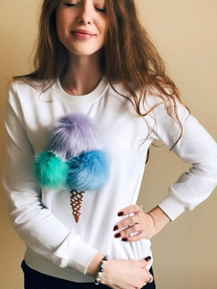 White Pullover Sweatshirt Round Neck Long Sleeve Printed Cotton Sweatshirt With Pom Poms