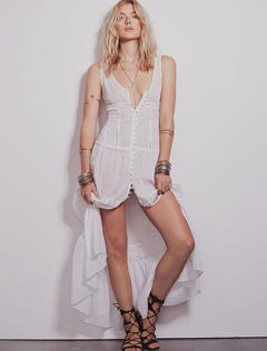 White Long Dress V Neck Sleeveless Cut Out Lace Patchwork Ruffle Maxi Dress