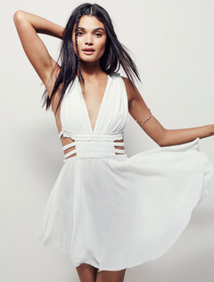 White Short Dress V Neck Sleeveless Cut Out Pleated Skater Dress For Women