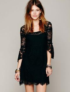 Black Lace Dress Square Neckline 3/4 Length Sleeve Semi-Sheer Slim Fit Short Dress