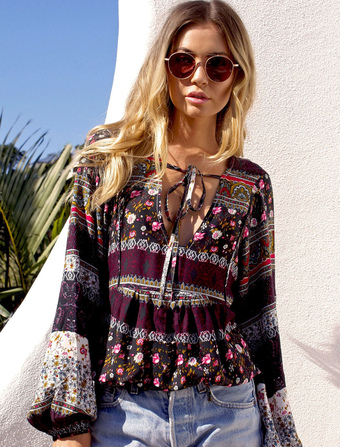 Plus Size Blouse Bohemian Floral Print Balloon Sleeve Loose Top For Women
