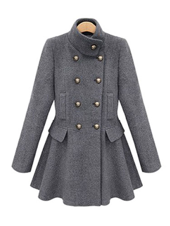 Women's Winter Coats Woolen Grey Double Breasted Full Skirt Swing Coat With Detachable Hood