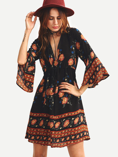 Boho Dress Black V Neck 3/4 Length Bell Sleeve Printed A Line Flare Dress