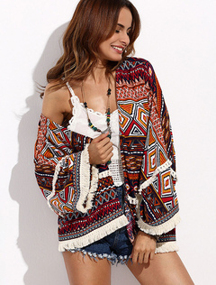 Women's Cover Ups Dark Brown Printed Long Sleeve Swimwear With Fringe