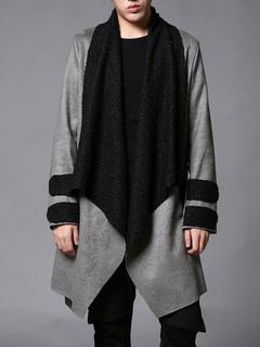 Men's Grey Coat Turndown Collar Long Sleeve Cotton Coat With Sash
