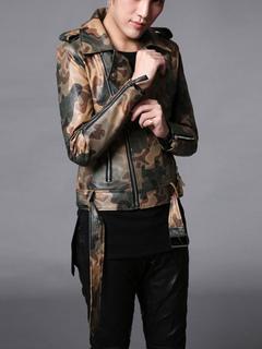 Giacca Moto Camo verde Turndown collo manica lunga giacca con Zip maschile  PU cuoio 1b80d930a46