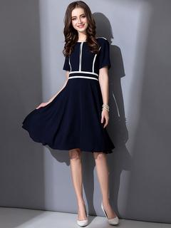 Blue Skater Dress Round Neck Short Sleeve Striped Pleated Flare Dress For Women