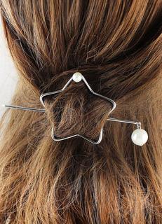 Silver Hair Clip Metal Star Pearl Barrette Minimalist Hair Accessories