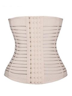 Body Waist Shaper Underbust Light Apricot Stripes Cut Out Front Buttons Women's Waist Girdle