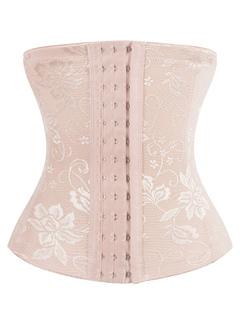 Women's Waist Shaper Light Apricot Floral Printed Front Button Sheer Best Waist Girdle