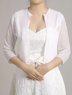 Wedding Party Jacket White Chiffon Bolero Shrug Half Sleeve Crewneck Open Front Bridal Jacket Top