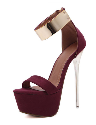 39c3b1551978 Burgundy Sexy Sandals 2019 Women High Heel Sandals Platform Metal Details  Ankle Strap Sandal Shoes