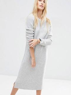 Grey Sweater Dress Round Neck Long Sleeve Knit Long Dress For Women