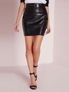 PU Leather Skirt Black Women's High Waist Tight Short Skirt